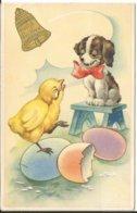 JOYEUX NOEL WEIHNACHTEN CHRISTMAS ILLUSTRATEUR  CP   DOREE POUSSIN CHIEN OOEUF TABOURET CLOCHE  1948 - Santa Claus