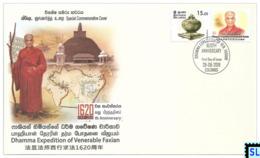 Sri Lanka Stamps 2019, Dhamma Expediton Of Ven. Faxian, China, Buddha, Buddhism, Special Commemorative Cover - Sri Lanka (Ceylon) (1948-...)