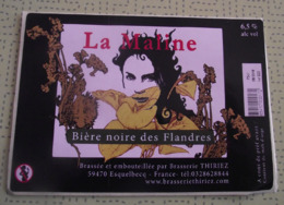 THEME FEMME / DONNA / WOMAN : BRASSERIE THIRIEZ (FRANCE) BIERE LA MALINE : ETIQUETTE NEUVE - Cerveza
