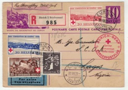 Suisse // Schweiz // Switzerland //  Entier Postaux // Entier Postal Recommandé Pour Le Nigeria - Stamped Stationery