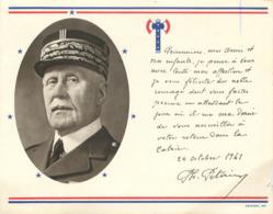 Propagande De Pétain Du 24 Octobre 1941 + Francisque - Régime De Vichy - Peu Courant Dans L'état - Documents Historiques