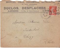 ENVELOPPE PUBLICITAIRE HOUILLES COKES  DUCLOS DESFLACHES ST ETIENNE 2 RUE DE SAINT CHAMOND - Postmark Collection (Covers)
