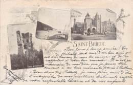 COTES D'ARMOR  22  SAINT BRIEUC - FANTAISIE DESSINEE, CHARDON - TROIS VUES - PIONNIERE 1899 - Saint-Brieuc