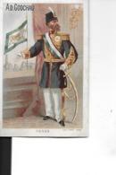 CHROMO       PERSE   HOMME EN UNIFORME  ET DRAPEAU  MAISON GODCHAU  14 JUILLET 1880 - Autres