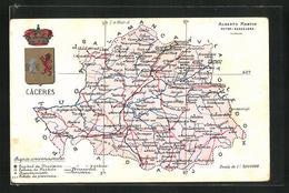 Postal Càceres, Geografische Karte Der Provinz Càceres In Extremadura Mit Wappen - Espagne