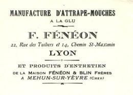 FENEON  Manufacture D'Attrape-Mouches à La Glu   LYON      Produits BLIN à Mehun Sur Yèvre 18 - Lettres De Change