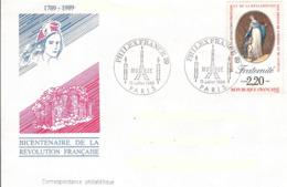 France, Enveloppe, Cachet Philexfrance 15 Juillet 1989, Thème Musique, Timbre Fraternité - Franz. Revolution