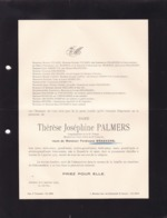 HASSELT Thérèse PALMERS Veuve Ferdinand BRAEKERS 1846-1934 Anvers Familles PICARD Del MARMOL DEBRUYN - Esquela