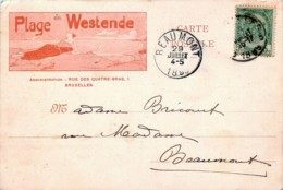 Belgique - Carte Illustrée 1899 Plage WESTENDE - Westende