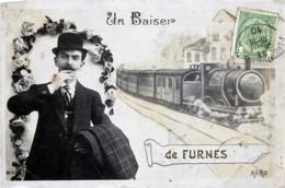 Belgique - Furnes - Fantaisie - Un Baiser De Furnes - Train - Veurne