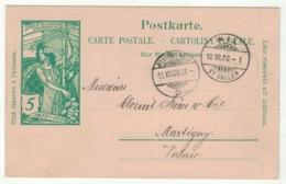 Suisse // Schweiz // Switzerland //  Entier Postaux // Entier Postal 1900 Au Départ De Wil Pour Martigny - Entiers Postaux