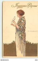 N°11469 - Carte Illustrateur - Mauzan - Joyeuses Pâques - Jeune Femme Avec Une Colombe - Mauzan, L.A.