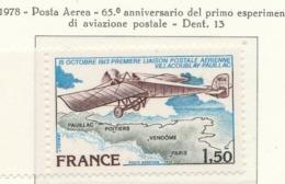 PIA - FRAN -1978: 65° Anniversario Del Primo Esperimento Di Aviazione Postale Villacoublay-Pauillac   - (Yv PA 51) - Aerei