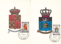 Armoiries - Belgique - 2 Cartes Postales De 1967 - Oblit Liège Et Gent - Université De L!ège Et Gand - Carte Maximum - Briefe U. Dokumente