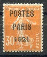 RC 11267 FRANCE N° 29 - 30c POSTES PARIS 1921 SEMEUSE COTE 80€ OBL. TB - Préoblitérés