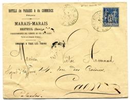 EURE De MARAIS MARAIS Env. En Tête HOTELS DU PARADIS ET DU COMMERCE Dateur A 2 BRETEUIL / ITON Du 4/05/1894 - Storia Postale