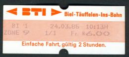 Ticket - Billet Ou Titre De Transport Métro-Bus - Suise - BIENNE - 6,00 Fr - BTI - BIEL-TAUFFELEN-INS-BAHN - BTI - Europa