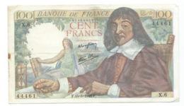 BILLET  100 Francs DESCARTES 15/05/1942  ( 2trous épingle ) - 100 F 1942-1944 ''Descartes''