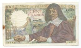 BILLET  100 Francs DESCARTES 15/05/1942  ( Trous épingle ) - 1871-1952 Anciens Francs Circulés Au XXème