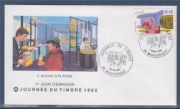 = Journée Du Timbre 1992 Enveloppe 1er Jour 65 Maubourguet 7.3.92 N°2744 De Carnet, L'accueil Des Usagers - 1990-1999