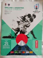 Rugby World Cup Japan 2019. Official Program Match ENGLAND Vs ARGENTINA, 116 Luxurious Color Pages English & Japanese - Rugby