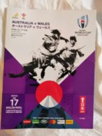 Rugby World Cup Japan 2019. Official Program Match AUSTRALIA-WALES, 116 Luxurious Color Pages English & Japanese - Rugby