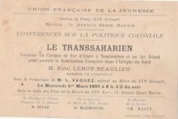 """Paris, Mairie Du XVIè. : Conférences Sur La Politique Coloniale. """"le Transsaharien"""" Par P. LEROY-BEAULIEU. - Advertising"""