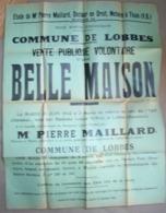 Affi. 15. Commune De Lobbes Vente D'une Maison En 1942 Au Café Du Vert Chasseur - Affiches
