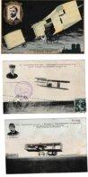 Aviation  5 Cartes Blériot, Traversée De La Manche, Delagrange, Lambert, Voyage De Chalons à Reims - Airmen, Fliers