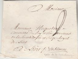 """Env. En Franchise (paraphe Et Mention """"de Blossac"""") Pour Niort . Verso : Cachet De Cire Armorié. - Storia Postale"""