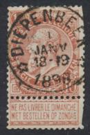"""Fine Barbe - N°57 Obl Relais """"Diepenbeek"""" Quelques Dents Courtes  / COBA : 30 - 1893-1900 Schmaler Bart"""