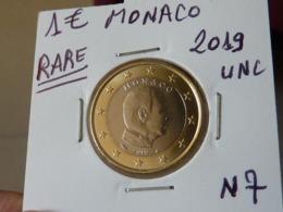 RARE ***  1 EURO MONACO 2019 Unc  ( 2 Photos ) - Monaco