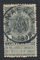 "Fine Barbe - N°53 Obl Simple Cercle ""Lanaeken"" - 1893-1900 Schmaler Bart"