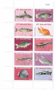 2015 St. Maarten Fish Complete Sheet Of 10 MNH @ 75% Of Face  **BARGAIN!!!!*** - Poissons