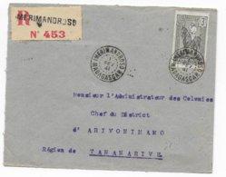 MADAGASCAR - 1941 - SEUL Sur LETTRE RECOMMANDEE De IMERIMANDROSO ! RARE ! - Madagascar (1889-1960)