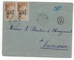 MADAGASCAR - 1943 - SEUL Sur LETTRE RECOMMANDEE De VOHILAVA (ILE STE MARIE DE MADAGASCAR) ! RARE ! - Madagascar (1889-1960)