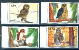 _TH Tajikistan 2019 Owls Birds Bird Owl Fauna Set 4v MNH - Vögel