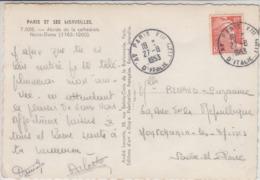 Carte Postale Notre Dame PARIS (Gandon N° 885 Obl. Cachet Type A6 Du 27.8.53) à Montchanin-les-Mines (Saône Et Loire) - Covers & Documents