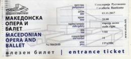 Entrance Ticket - Macedonian Opera And Ballet - Skopje.Performance - Cavalleria Rusticana - Eintrittskarten
