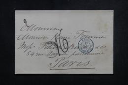 """FRANCE - Oblitération En Bleu """" Brésil 2 Bordeaux """" En 1865 Sur Lettre De Rio De Janeiro Pour Paris - 45640 - Postmark Collection (Covers)"""