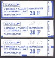 1016) 3 Carnets 1507. Un Daté 25.4.96, Un Avec Chiffre De Nappe Et Le 3ème Neutre - Carnets
