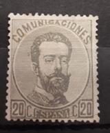 ESPAÑA.  EDIFIL 123 *.  20 CT AMADEO I EN NUEVO.  CATÁLOGO 130 € - 1872-73 Reino: Amadeo I