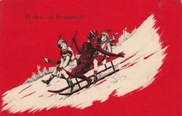 Krampus Devil - Krampus W Girls On Sled Old Postcard 1941 - Saint-Nicholas Day