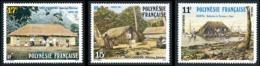 POLYNESIE 1988 - Yv. 299 300 Et 301 **   Faciale= 0,36 EUR - Habitations Tahitiennes (3 Val.)  ..Réf.POL24535 - Polinesia Francese