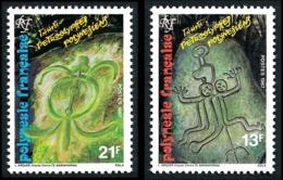 POLYNESIE 1987 - Yv. 280 Et 281 **   Cote= 1,30 EUR - Pétroglyphes Polynésiens  (2 Val.)  ..Réf.POL24529 - Polinesia Francese