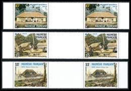 POLYNESIE 1988 - Yv. 299A à 301A (299 à 301 En Tryptiques) **   Cote= 4,20 EUR - Habitations Tahitiennes  ..Réf.POL24536 - Neufs