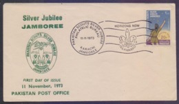 PAKISTAN 1973 FDC - Scouting, Silver Jubilee JAMBOREE Scouts, First Day Cover - Pakistán