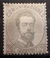 ESPAÑA.  EDIFIL 123 (*).  20 CT AMADEO I EN NUEVO.  CATÁLOGO 130 € - 1872-73 Reino: Amadeo I