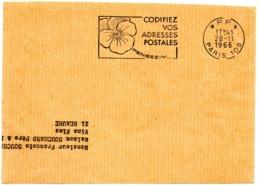 PARIS 108 1966 = FLAMME PP = SECAP Multiple ' PENSEZ + CODIFIEZ' = Pensée N° 1 - Postleitzahl
