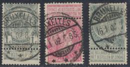 """Fine Barbe - Lot De 3 TP (n°53, 58 Et 63) Avec Obl à Pont """"Bruxelles"""" (3 étoiles) / Cachet Essai. Superbe ! - 1893-1900 Barbas Cortas"""